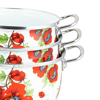 Sets of enamel pots